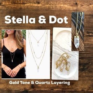 Stella and Dot Gold Quartz Layering Necklace